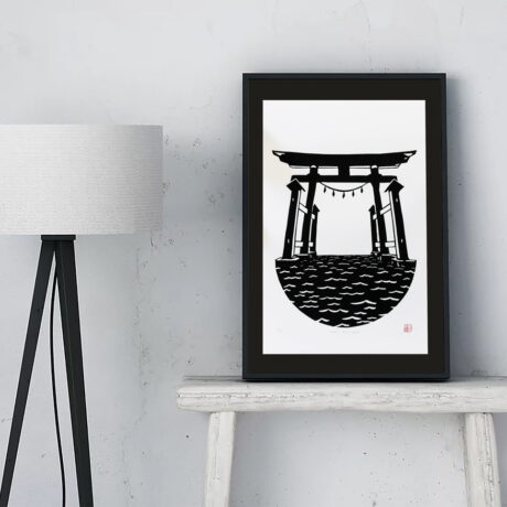 Linogravure-torii-flottant-japon-1