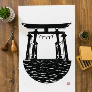 linogravure torii japonais