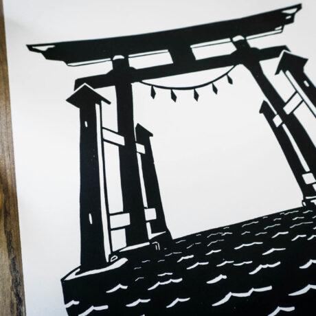 Linogravure-torii-flottant-japon-3