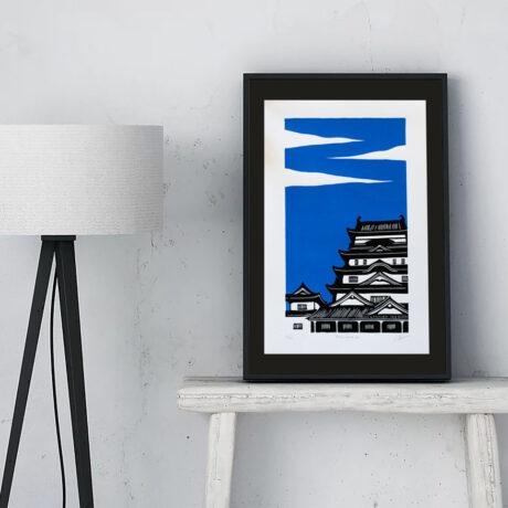 linogravure-fukuyama-japon-bleu-1