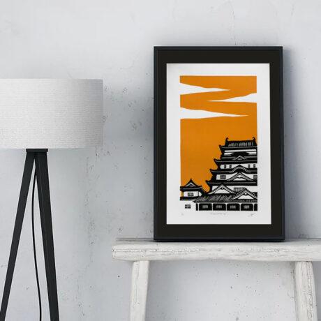 linogravure-fukuyama-japon-orange-1