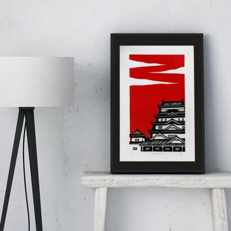 linogravure-fukuyama-japon-rouge-1
