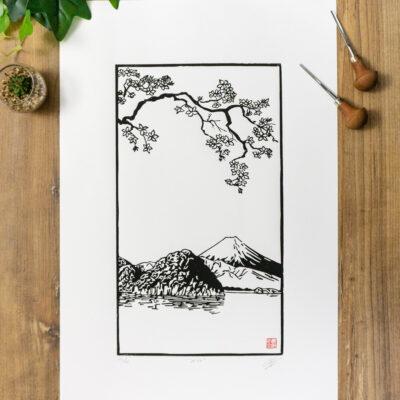 linogravure mont fuji japon