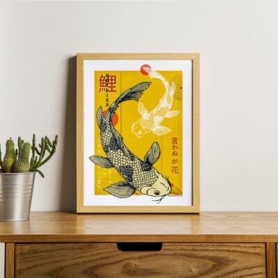 Poster japon couleur Carpes