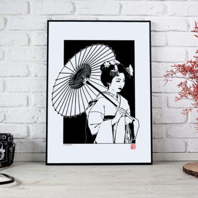 poster d'une geisha en noir et blanc