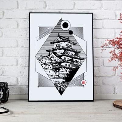 poster du château de himeji en noir et blanc