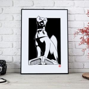 poster noir et blanc du dieu renard inari
