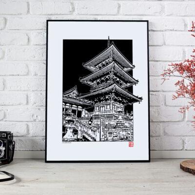 poster d'une pagode japonaise en noir et blanc