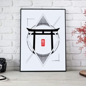 poster d'un torii au japon en noir et blanc