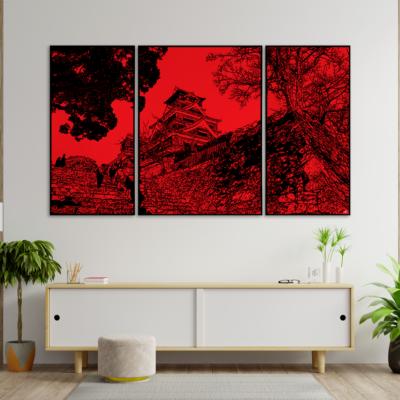 tableau japon triptyque kumamoto-jo