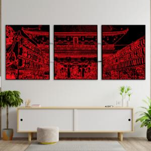 tableau japon triptyque asakusa