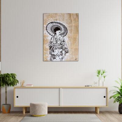 tableau japon fond de collage geisha