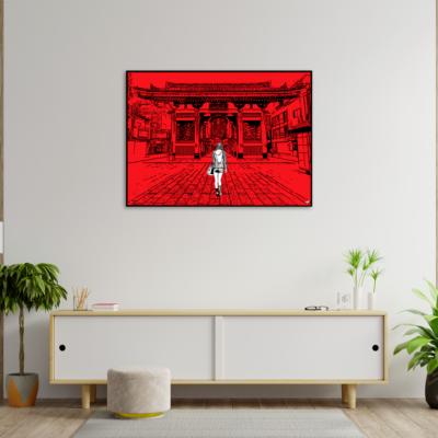 tableau japon promenade a asakusa