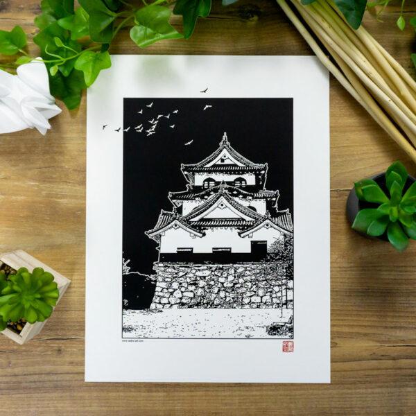 Poster château japonais noir et blanc hikone